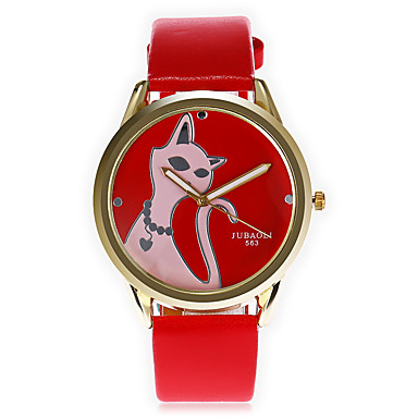 JUBAOLI Bărbați Quartz Ceas de Mână Chineză Mare Dial Piele Bandă Desen animat Unic Watch Creative Modă Cool Negru Alb Roșu