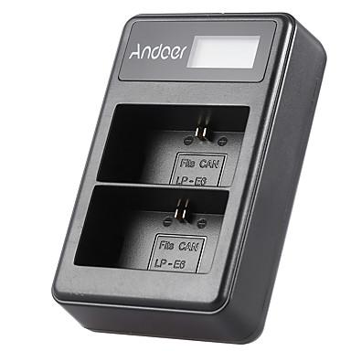 Andoer® lp-e6 wiederaufladbare LED-Anzeige Li-Ionen-Akku-Ladegerät Pack 2-Slot USB-Kabelsatz für canon eos 6d 7d 70d 60d 5d mark iii mark