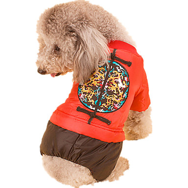 Hond Jumpsuits Hondenkleding Nieuwjaar Geometrisch Geel Rood Kostuum Voor huisdieren
