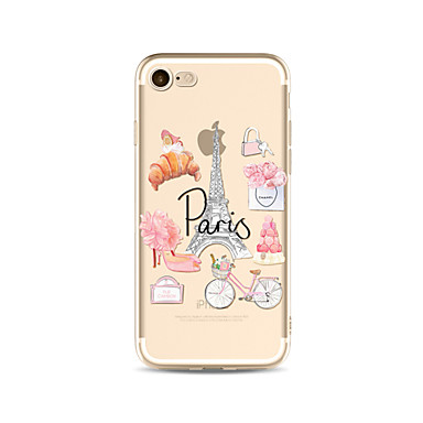 hoesje Voor Apple iPhone X iPhone 8 Plus Transparant Patroon Achterkantje Eiffeltoren Zacht TPU voor iPhone X iPhone 7s Plus iPhone 8