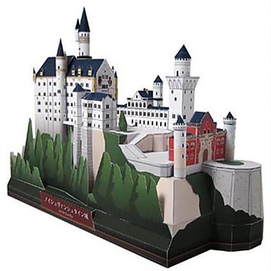 3D - Puzzle Papiermodel Modellbausätze Quadratisch Schwan Burg Berühmte Gebäude Architektur Heimwerken Hartkartonpapier Klassisch Jungen