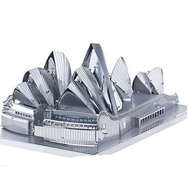 Speelgoedauto's 3D-puzzels Legpuzzel Metalen puzzels Speeltjes Rechthoekig Tank Kasteel Beroemd gebouw Architectuur 3D Aluminium Metaal