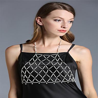 للمرأة مجوهرات الجسم  سلسلة الجسم / سلسلة البطن لؤلؤ تقليدي أبيض Geometric Shape مصنوع يدوي موضة مجوهرات من أجل لباس يومي فضفاض