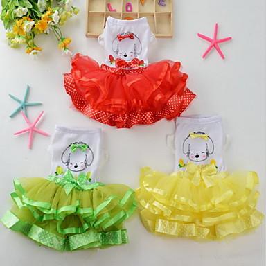 كلب الفساتين ملابس الكلاب عيد ميلاد كاجوال/يومي أميرة أصفر أحمر أخضر زهري