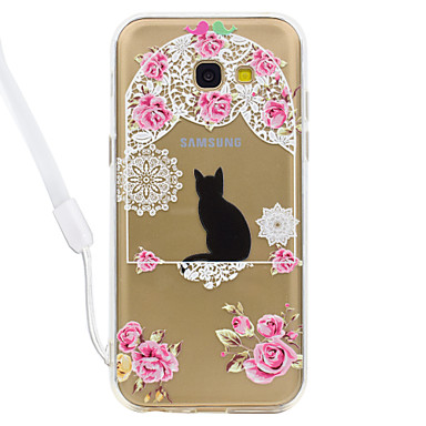 hoesje Voor Samsung Galaxy A5(2017) A3(2017) Transparant Patroon Achterkantje Kat Transparant Hard Acryl voor A3 (2017) A5 (2017)