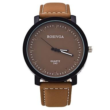 Herrn Modeuhr Armbanduhr Armbanduhren für den Alltag Quartz PU Band Freizeit Schwarz Braun