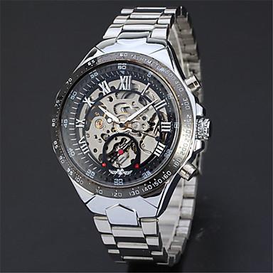 Χαμηλού Κόστους Ανδρικά ρολόγια-Ανδρικά Διάφανο Ρολόι Ρολόι Καρπού μηχανικό ρολόι Αυτόματο κούρδισμα Ανοξείδωτο Ατσάλι Ασημί Καθημερινό Ρολόι Απίθανο Αναλογικό Καθημερινό Μοντέρνα Κομψό -