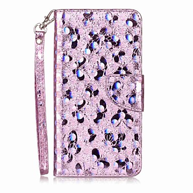 hoesje Voor Apple iPhone 7 Plus iPhone 7 Kaarthouder Flip Patroon Volledig hoesje Vlinder Glitterglans Hard PU-nahka voor iPhone 7 Plus