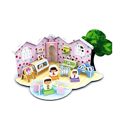 3D-puzzels Legpuzzel Modelbouwsets Beroemd gebouw Huis Architectuur 3D DHZ Kaart Papier Klassiek Cartoon Kinderen Unisex Geschenk