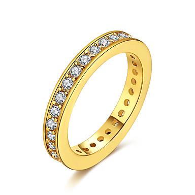 للمرأة خاتم مكعب زركونيا ذهبي فضي زركون نحاس تصفيح بطلاء الفضة مطلية بالذهب 18K الذهب Geometric Shape غير منتظم مخصص ترف هندسي تصميم فريد