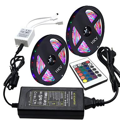 Hkv® 10m (2 * 5m) rezistent la apă 3528 300g rgb bandă lumină 24key ir telecomandă 5a sursa de alimentare ac 100-240v