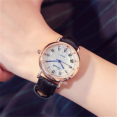 Damen Modeuhr Armbanduhr Quartz Leder Band Schwarz Weiß Rosa