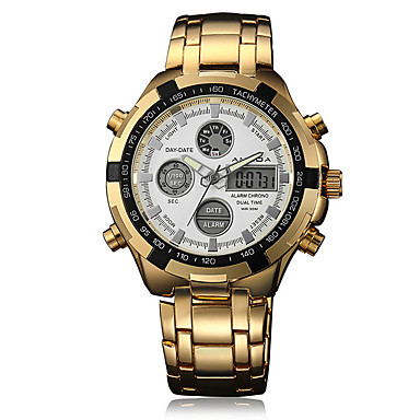 זול שעוני גברים-בגדי ריקוד גברים שעונים יום יומיים שעוני אופנה שעון יד קווארץ מתכת אל חלד כסף / זהב לוח שנה זורח אזור זמן כפול אנלוגי יום יומי אלגנטית - זהב /  שחור לבן / זהב לבן / כסוף שנתיים חיי סוללה / צג גדול