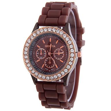 Damen Modeuhr Armbanduhren für den Alltag Quartz Strass Silikon Band Freizeit Schwarz Weiß Rot Orange Braun Rosa Lila Gelb Beige