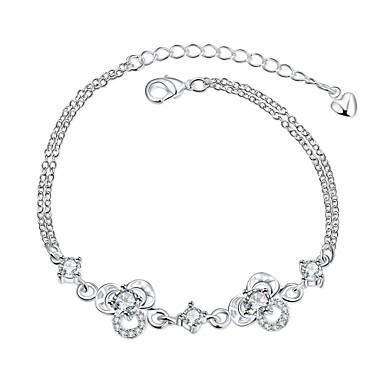 Dames Meisjes Kristal Verzilverd Armbanden met ketting en sluiting - Vintage Vriendschap Modieus Bloem Wit Oranje Armbanden Voor