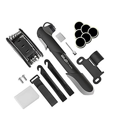 Pompă Bicicletă & Kit Reparație Pană Portabil, 120 PSI, Se potrivește cu supapa Presta & Schrader Ciclism / Bicicletă ABS / Aliaj Negru