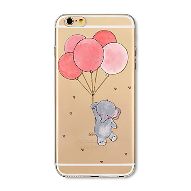 voordelige iPhone 6 Plus hoesjes-hoesje Voor Apple iPhone X / iPhone 8 Plus / iPhone 8 Transparant / Patroon Achterkant Cartoon / Balloon / Olifant Zacht TPU