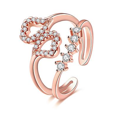 Pentru femei Inel Zirconiu Cubic Roz auriu Zirconiu Articole de ceramică Placat Cu Aur Roz Inimă Personalizat Lux Γεωμετρικά Design Unic