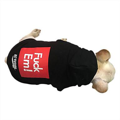كلب كنزة ملابس الكلاب كاجوال/يومي حرف وعدد أسود رمادي