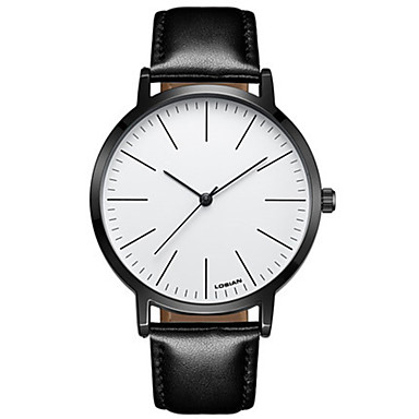 Heren Modieus horloge Polshorloge Kwarts Waterbestendig Leer Band Vintage Informeel Zwart