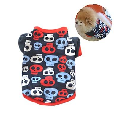 Pisici Câine Haine Tricou Hanorca Îmbrăcăminte Câini Petrecere Casul/Zilnic Keep Warm Cranii Negru Culoare Camuflaj