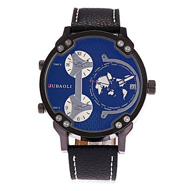 Herrn Einzigartige kreative Uhr Modeuhr Chinesisch Quartz Kalender Drei-Zeit-Zonen Großes Ziffernblatt Leder Band Cool Schwarz
