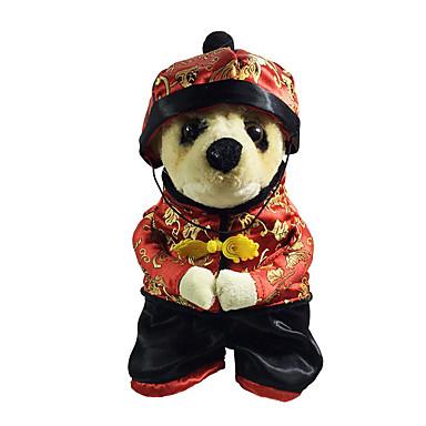 Hund Kostüme Hundekleidung Stickerei Seide Kostüm Für Haustiere Herrn Damen Neujahr