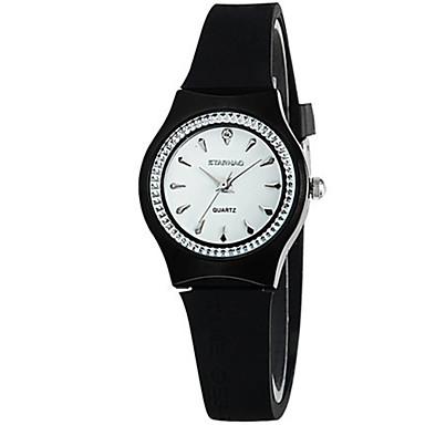 Dames Modieus horloge Kwarts Waterbestendig Rubber Band Zwart Wit Rood Bruin