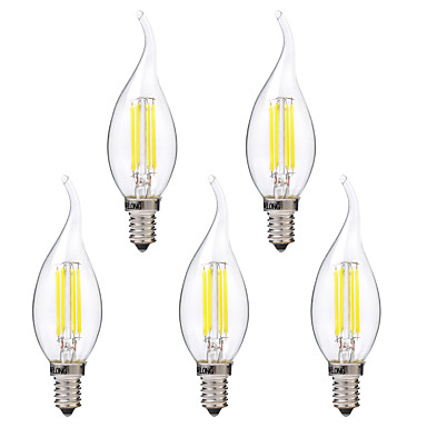 BRELONG® 5pcs 4W 350 lm E14 Bec Filet LED C35 4 led-uri COB Alb Cald Alb AC 220-240V