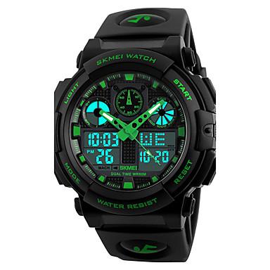 זול שעוני גברים-SKMEI בגדי ריקוד גברים שעון יד שעון דיגיטלי ציד Japanese קווארץ דמוי עור מרופד שחור 50 m עמיד במים Alarm לוח שנה אנלוגי-דיגיטלי אופנתי - אדום ירוק כחול שנתיים חיי סוללה / כרונוגרף / אזור זמן כפול