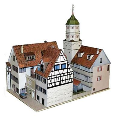 Puzzle 3D Lucru Manual Din Hârtie Pătrat Clădire celebru Arhitectură 3D Reparații Hârtie Rigidă pentru Felicitări toate vârstele