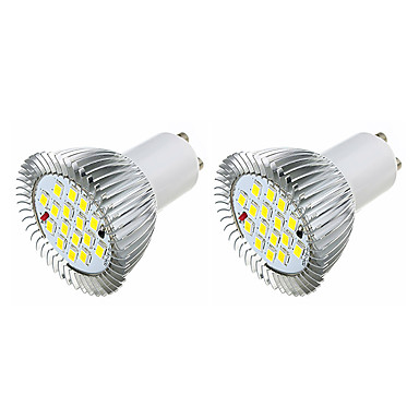 2pcs 3.5W 360-400lm GU10 LED-spotlampen MR16 16 LED-kralen SMD 5630 Warm wit Wit 220-240V