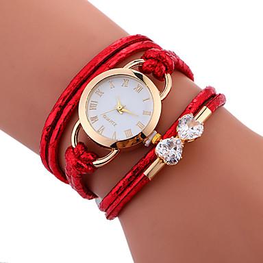 ieftine Ceasuri Damă-Pentru femei Ceas Brățară ceasul cu ceas Quartz Wrap Piele PU Matlasată Alb / Albastru / Roșu Rezistent la Apă Creative Analog femei Casual Modă Elegant - Rosu Albastru Roz Un an Durată de Via