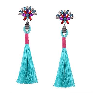 Mulheres Franjas Longas Brincos Compridos - Strass Borla, Vintage, Boêmio Preto / Vermelho / Azul Para Casamento Aniversário Housewarming