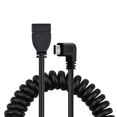 Cwxuan USB 3.1 Type C Adapterkabel, USB 3.1 Type C to USB 2.0 Adapterkabel Mannelijk - Vrouwelijk Verguld koper 1.2m (4ft) 480 Mbps
