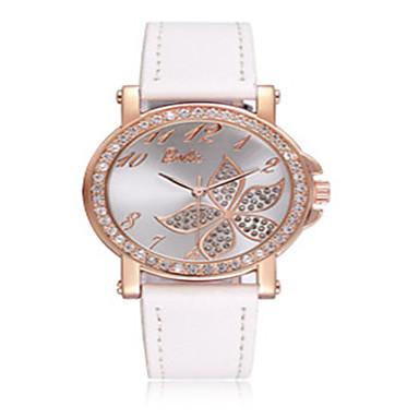 Dames Modieus horloge Kwarts Leer Band Wit Roze Paars