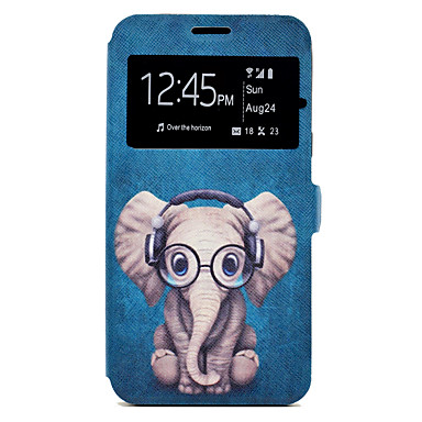 غطاء من أجل Samsung Galaxy A5(2017) A3(2017) حامل البطاقات مع حامل نموذج كامل الجسم كارتون فيل قاسي جلد اصطناعي إلى A3 (2017) A5 (2017)