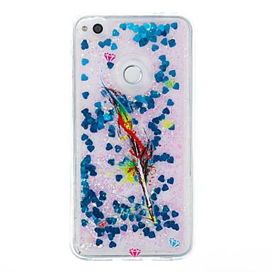 Voor huawei p9 lite p8 lite case cover veren patroon flash poeder quicksand tpu materiaal telefoon hoesje p8 lite (2017)