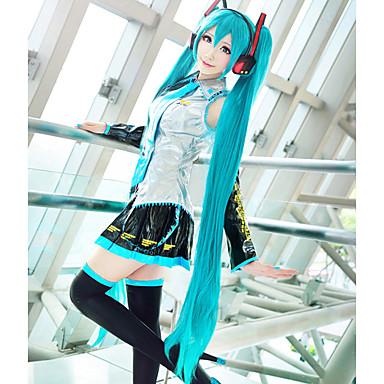 Cosplay Perukları Vocaloid Hatsune Miku Mavi Ekstra Uzun / Düz Anime / Video Oyunları Cosplay Perukları 120 CM Isı Dirençli Fiber Kadın