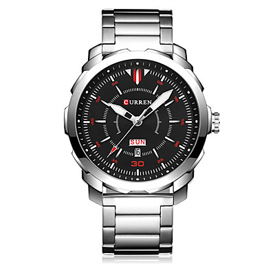 Herrn Quartz Armbanduhr Sportuhr Chinesisch Kalender Wasserdicht Großes Ziffernblatt Metall Band Charme Kreativ Einzigartige kreative Uhr