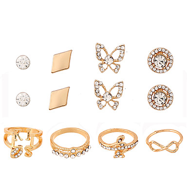 Dames Sieraden Set Ring Bergkristal Strass Legering Geometrische vorm epäsäännöllinen Meetkundig Modieus Punk Dagelijks gebruik