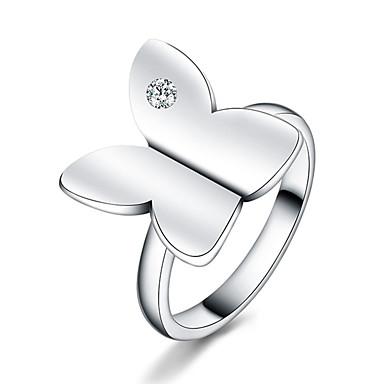 Damen Kubikzirkonia versilbert Schleifenform Ring - Schleifenform Euramerican Silber Ring Für Alltag