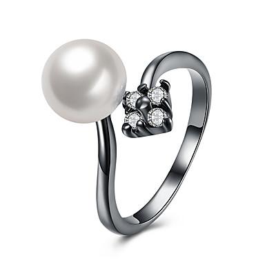 Pentru femei manşetă Ring Zirconiu Cubic Perle Alb Perle Aliaj Circle Shape Geometric Shape Lux Ciucure Boem De Bază Confecționat Manual