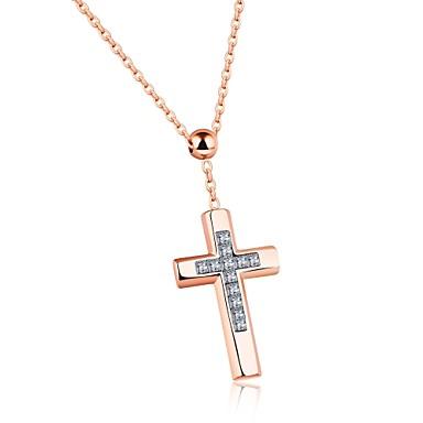 Bărbați Pentru femei Σταυρός Formă Lux Iubire Bijuterii Statement Modă În Cruce Coliere cu Pandativ Zirconiu Cubic Oțel titan Coliere cu