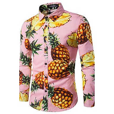 baratos Roupa de Homem Moderna-Homens Camisa Social - Trabalho Estampado, Fruta Algodão Ananás Azul L / Manga Longa / Outono