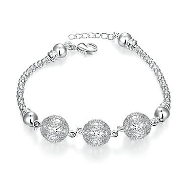 Pentru femei Fete Cristal Cristal Argilă Inimă Brățări cu Lanț & Legături - Γεωμετρικά Prietenie Modă Rotund Geometric Shape Argintiu