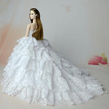 الزفاف فساتين إلى الدمية باربي شيفون دانتيل فستان إلى لفتاة دمية لعبة
