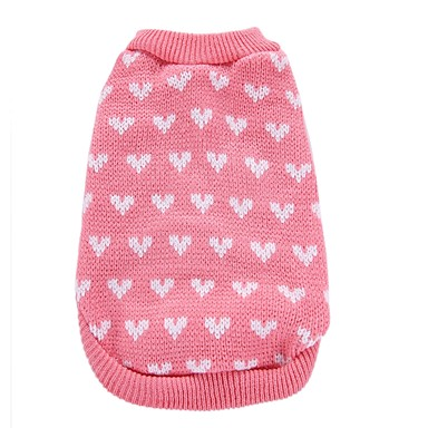 Câine Haine Pulovere Crăciun Îmbrăcăminte Câini Inimă Roz Fibră Acrilică Costume Pentru animale de companie Bărbați Pentru femei