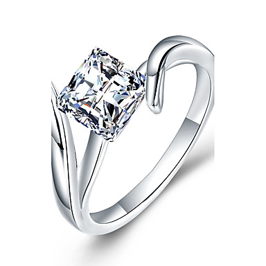 Pentru femei Lux Zirconiu Cubic / Diamant sintetic Plastic / Zirconiu / Ștras Band Ring - Geometric Shape Lux / Clasic / DIY Alb Inel