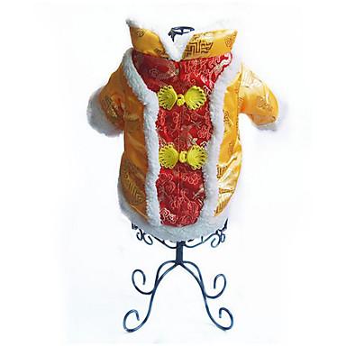 Hund Weste Hundekleidung Warm Atmungsaktiv Lässig/Alltäglich Neujahr Bestickt Gelb Rot Kostüm Für Haustiere